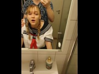 School-Girl Gets Creampied In Bathroom