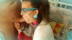 Nubile With Blue Glasses Receives Raw Facefucking And Facial