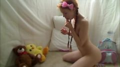 Steamy Nubile Redhead Dolly Tiny Masturbates In Footie Pajamas
